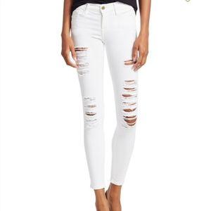 Frame Denim Le Skinny de Jeanne Jeans Rip Blanc